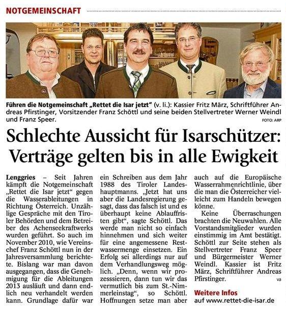 Pressebericht Rettet die Isar jetzt (Tölzer Kurier 28.03.2011)