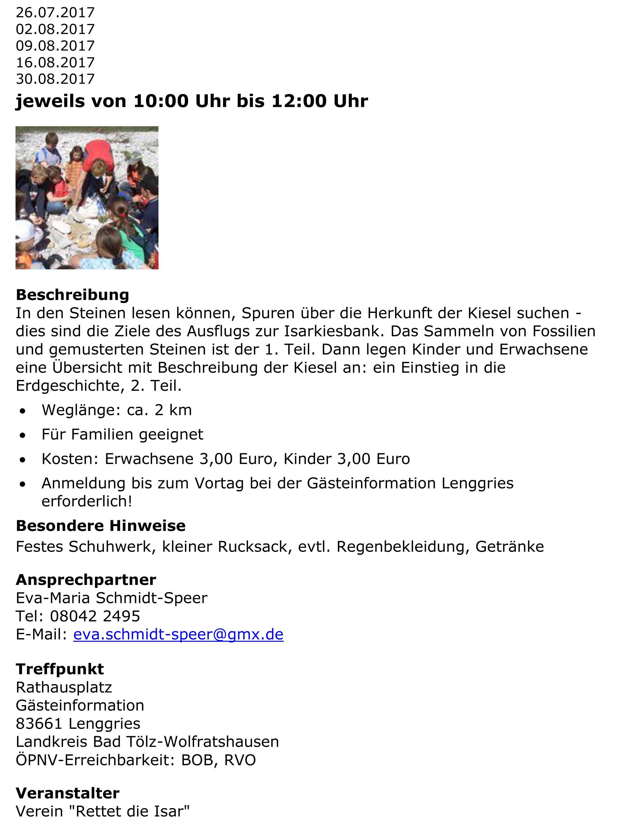 Rettet die Isar jetzt e.V. » Blog Archiv » Exkursionen von Franz Speer